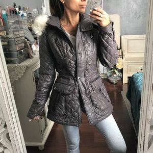 Faux Fur Quilted Coat with Pockets